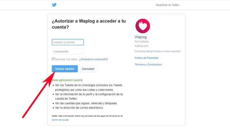 create a waplog account with twitter