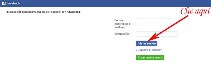 enter aliexpress with Facebook