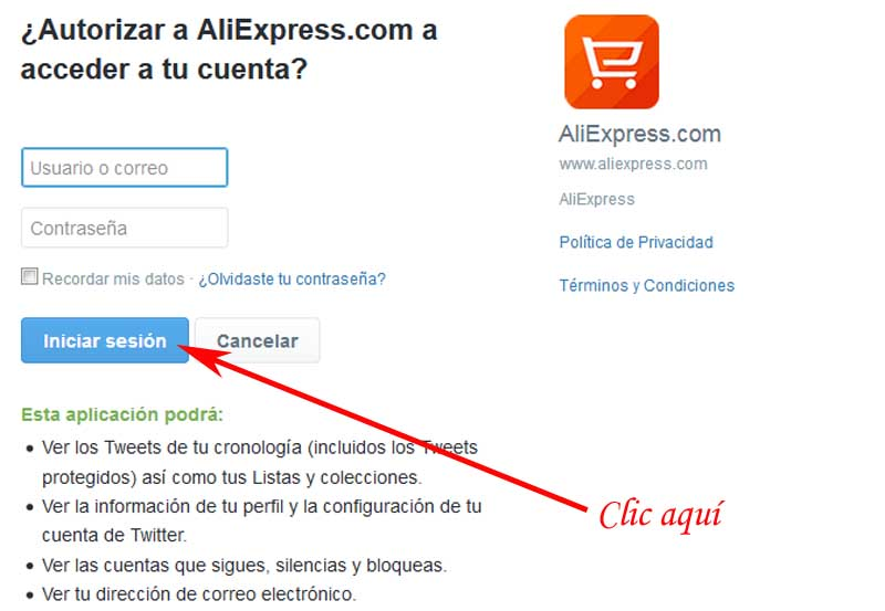 enter aliexpress with twitter