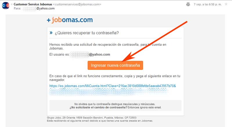 how to recover a jobomas account