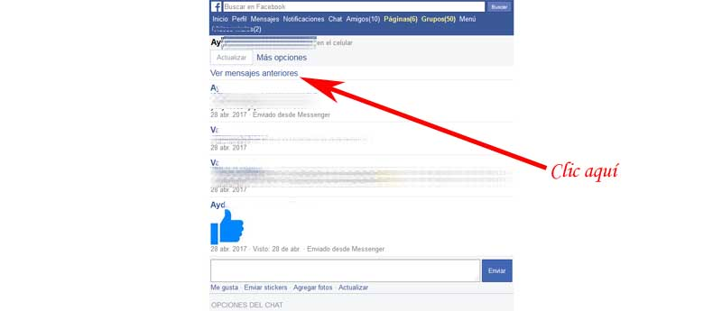 check the conversation on facebook messenger
