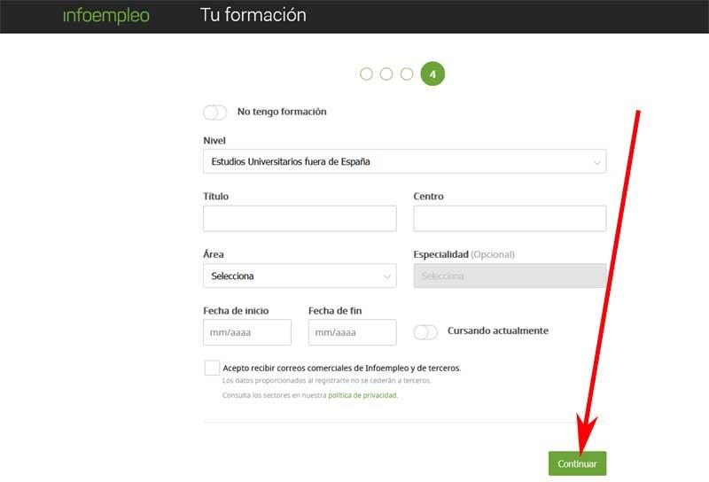 registration form in infoempleo