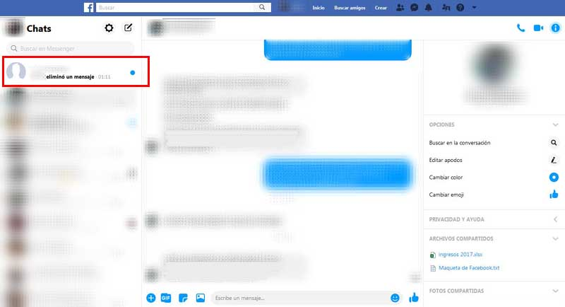 delete the message from facebook messenger