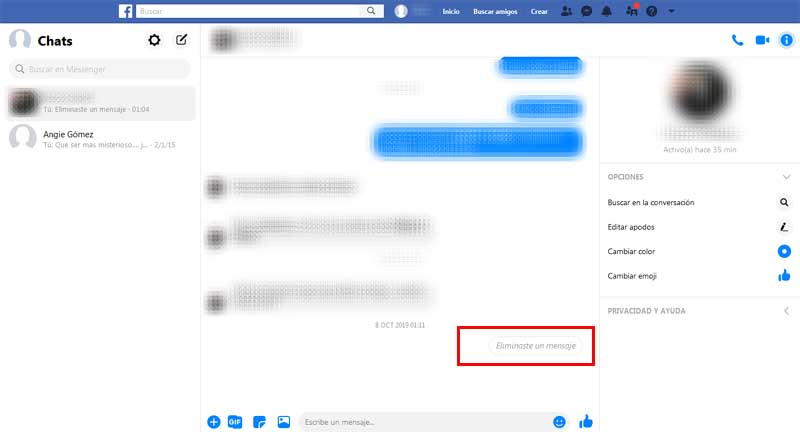 delete the message on facebook