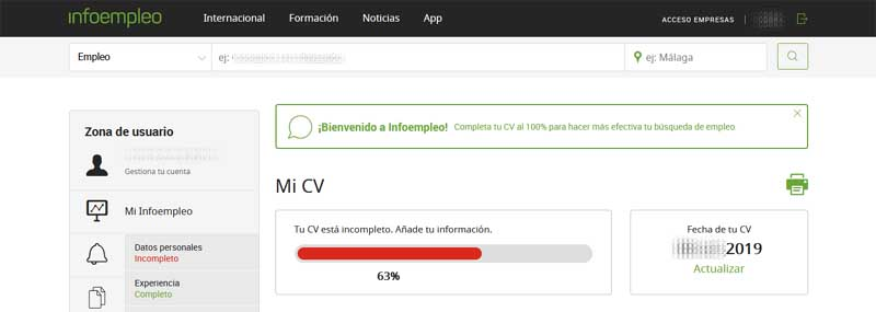 create an account at infoempleo