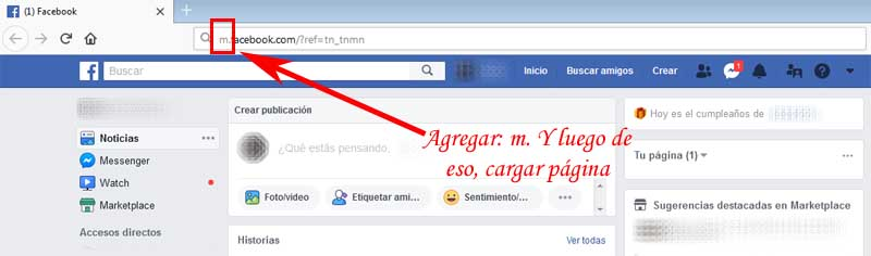 switch to facebook in the mobile phone version