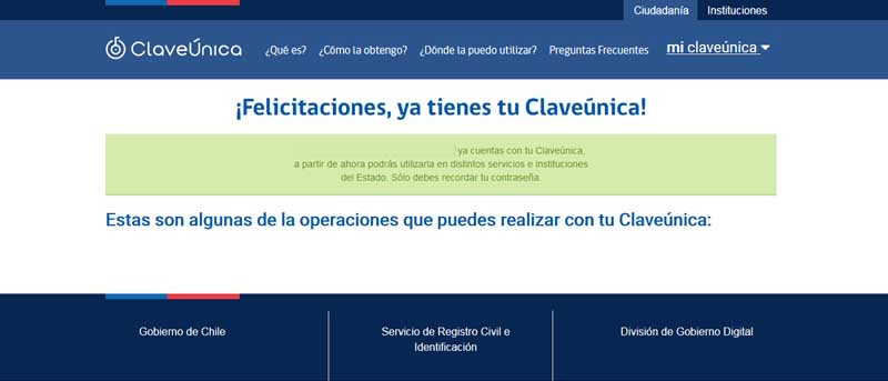 How to activate my unique civil registry key in Chile