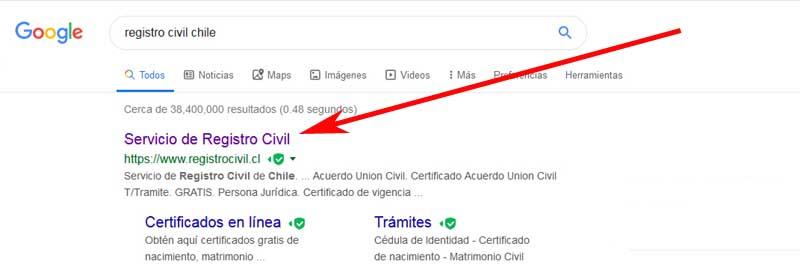 enter the Chilean civil registry