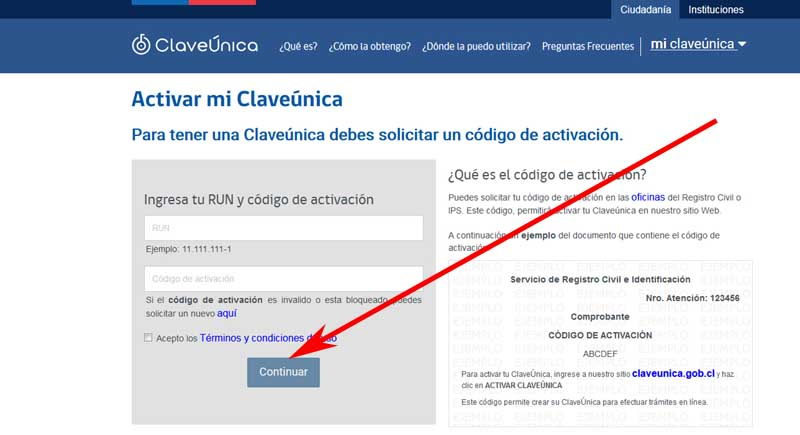 How to activate my unique civil registry code in Chile