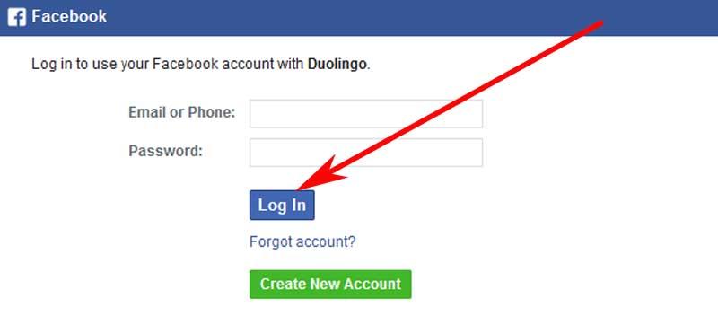 enter duolingo with facebook