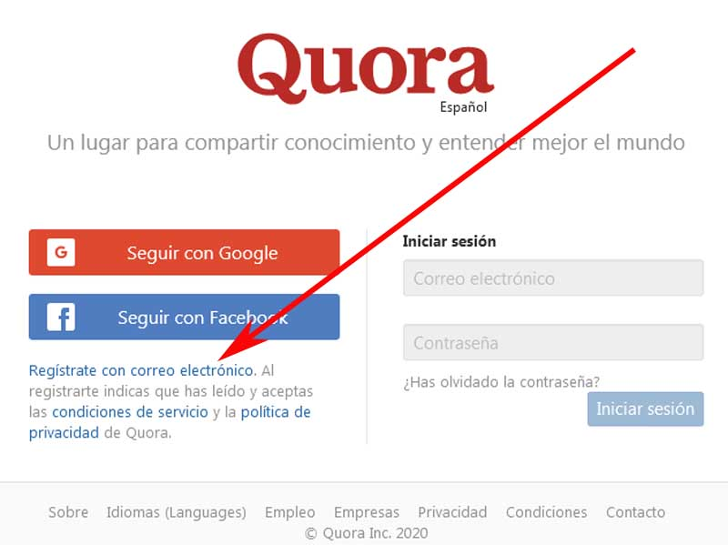 sign up for quora