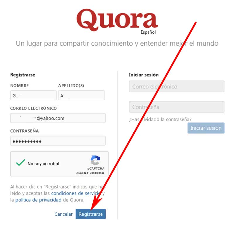 create a quenta on the quora
