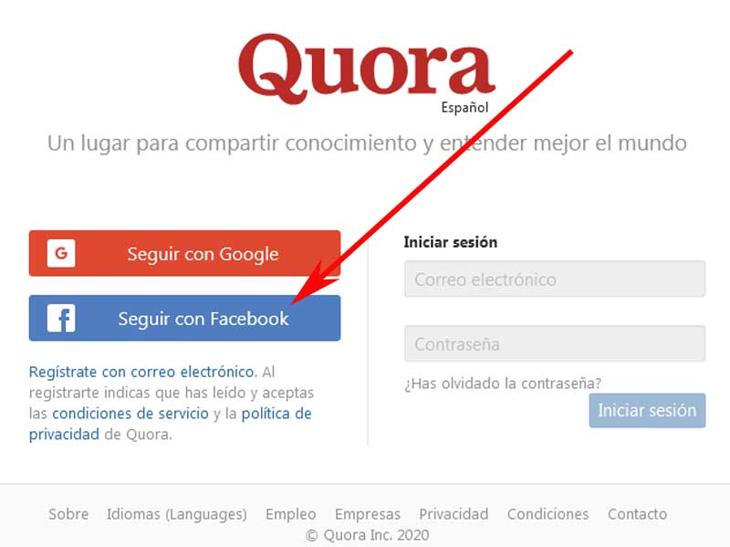 create a quora account with Facebook