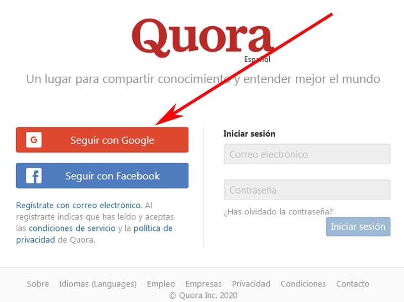 register on quora with google
