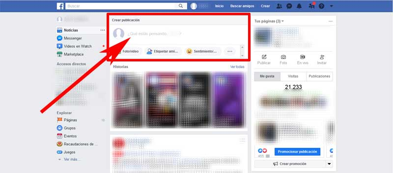 create a post on facebook
