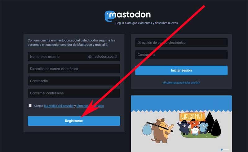 create a mastodon account