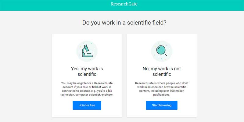 create an account on researchgate
