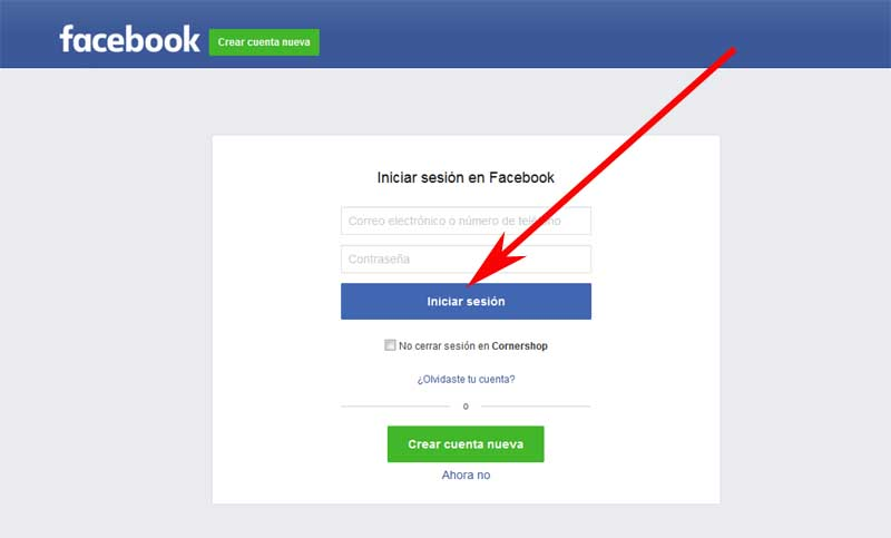 connect your Facebook account to the corner