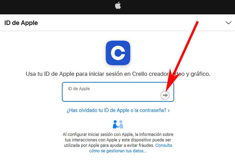 Apple account link in crello