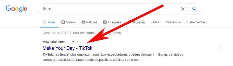 enter tiktok from google