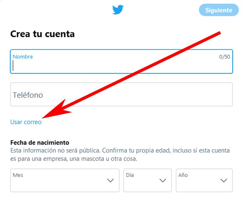 register on twitter by email