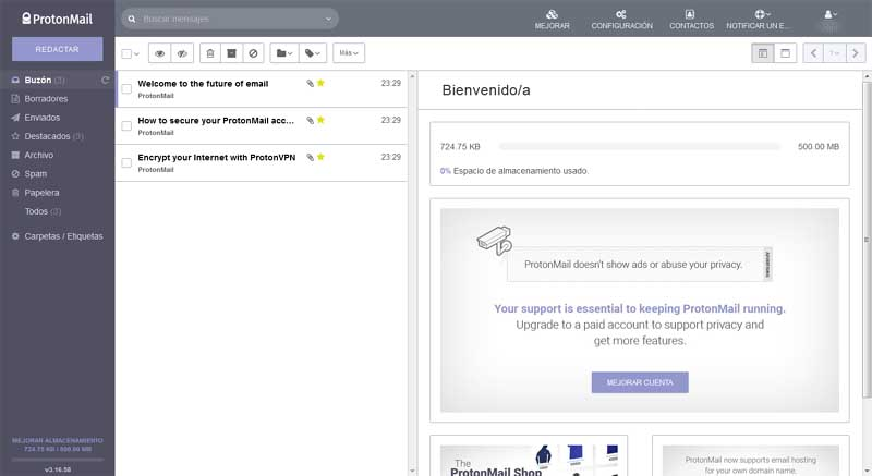 create an email account in protonmail