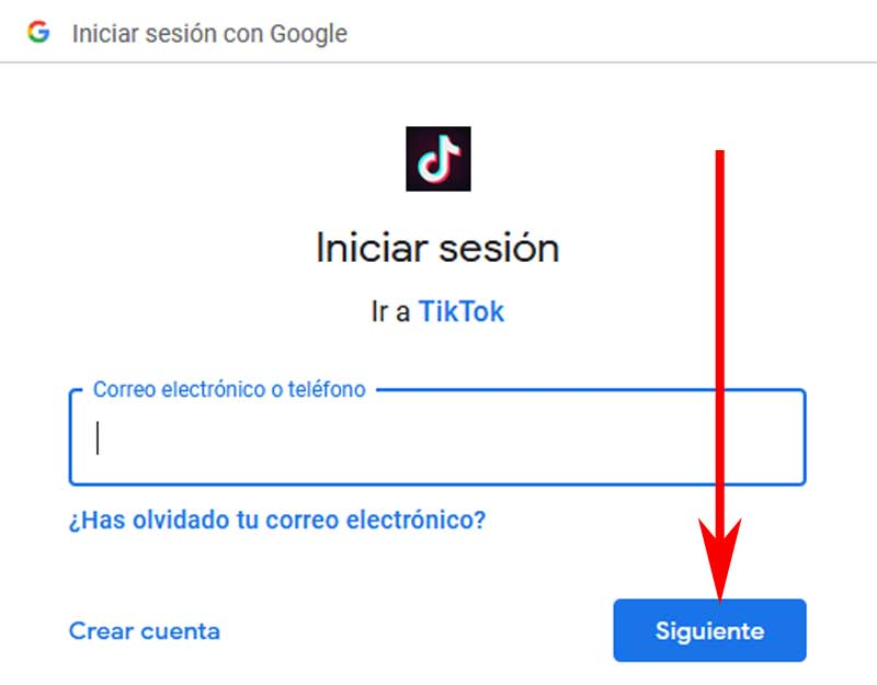 sign up for tiktok with google